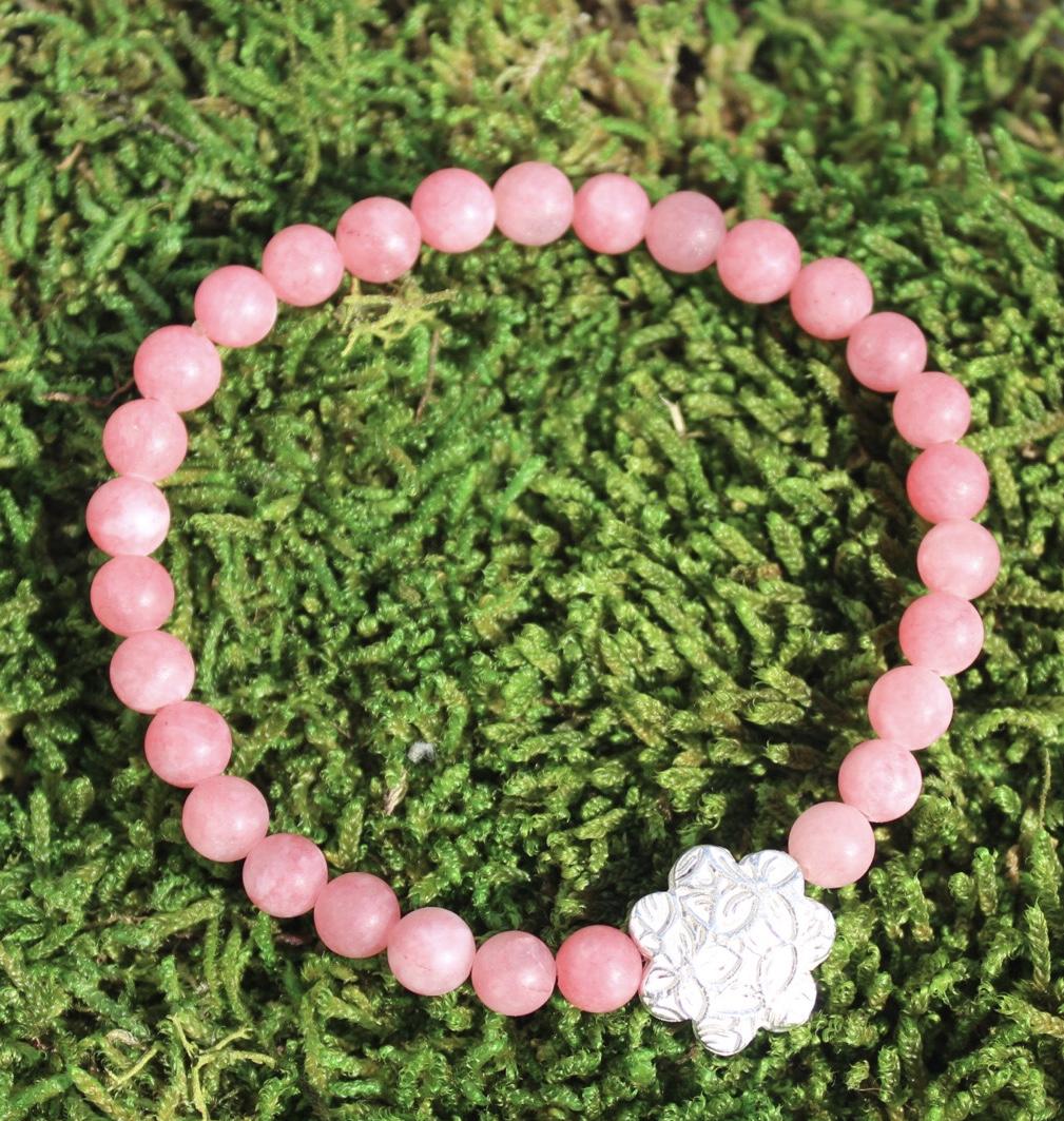 Armband Blume mit Jade Pink